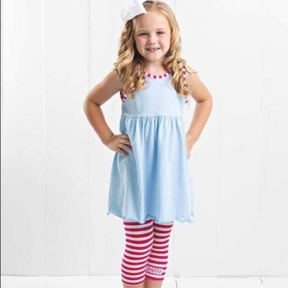 Ruffle Girl Other - Ruffle Girl Light Blue/Hot Pink Legging Capri Set